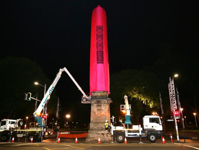 Crews worked overnight to get it up. The public art installation, that is. Picture: Bill Hearne