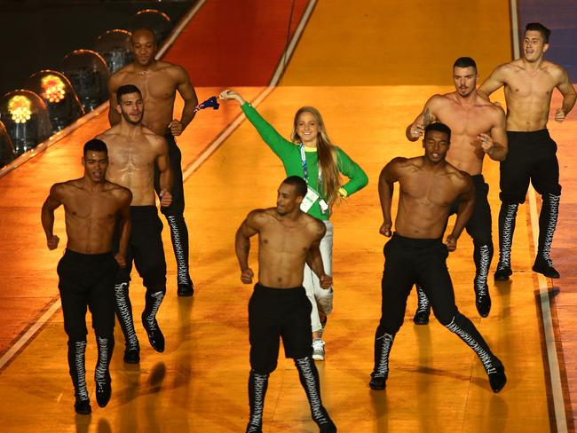 Upstaging Kylie ... Genevieve Lacaze of Australia on stage during the Closing Ceremony for the Glasgow 2014 Commonwealth Games. Picture: Ian Walton/Getty Images