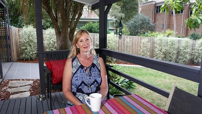 Mary O'Rouke enjoys having a back yard in her new house in West Ryde.