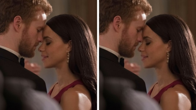 An intimate moment between fake Harry and fake Meghan. Photo: Lifetime