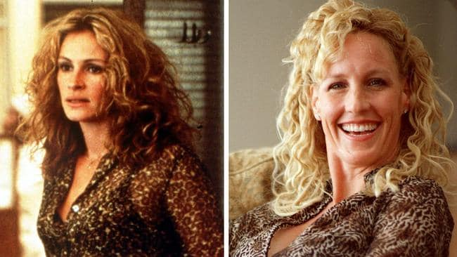 Julia Roberts in 'Erin Brockovich', and the real Erin Brockovich in her home in California in March 2000. Picture: Damian Dovarganes/AP