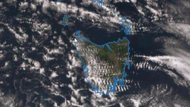 On Wednesday the distinctive rippling of the wave cloud could be seen over Tasmania. Picture: Bureau of Meteorology.