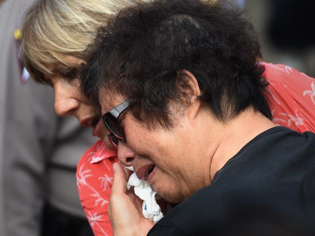 Emotional pain unbearable ... Helen Chan, the mother of Andrew Chan, breaks down after arriving at Nusakambangan port in Cilalcap on April 28, 2015. Picture: AFP / Romeo Gacad