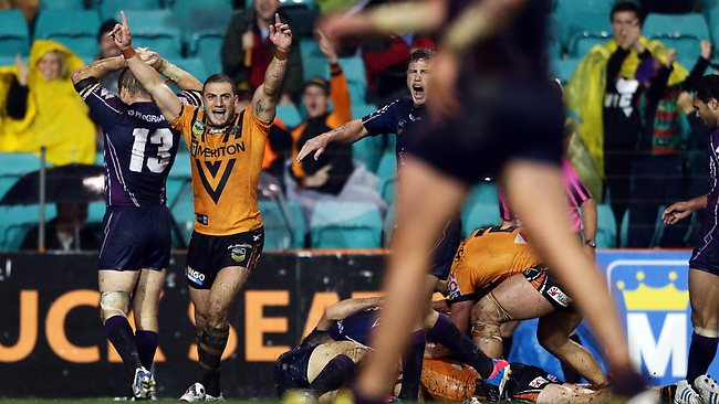 Robbie Farah celebrates a Wests Tigers try. Picture: Sam Ruttyn