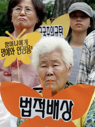 Lee OK-seon, former South Korean comfort woman, protests in Seoul in 2007.