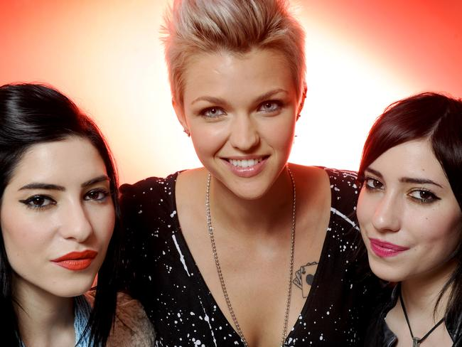 Lisa and Jess Origliasso with Ruby Rose back in 2010. Picture: News Corp