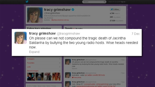 A Current Affair's Tracy Grimshaw offered the 2Day FM DJs support on twitter. Picture: Supplied