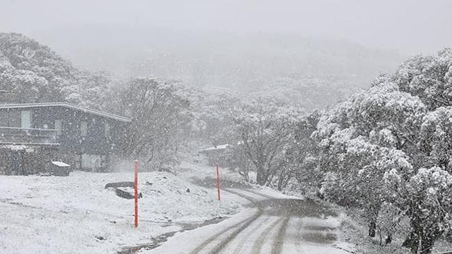 And THAT'S why they have orange poles. Perisher ski resort in NSW yesterday during the summer blizzard.