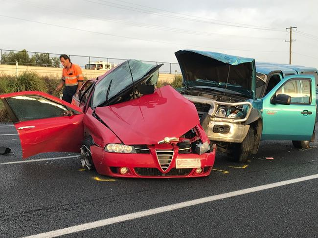 The scene of the pileup on the M1 north of Brisbane early yesterday. Picture: Bruce Long