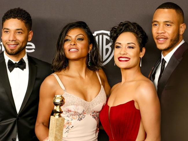 Winner ... Taraji P. Henson, second from the left, celebrates her Golden Globe win for Best Actress, alongside cast members Jussie Smollett, Grace Gealey and Trai Byers. Picture: Splash