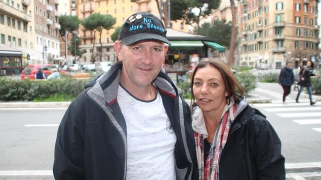 Clergy victim Paul Levey and his partner Michele were in Rome to hear Cardinal Pell give evidence. Picture: Charles Miranda