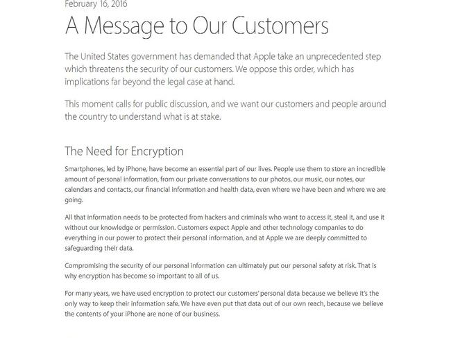 Statement ... Apple CEO Tim Cook explained the company's decision to resist the court ruling in a fierce note. Picture: Apple