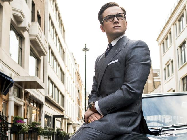 "This image released by Twentieth Century Fox shows Taron Egerton in ""Kingsman: The Golden Circle."" (Giles Keyte/Twentieth Century Fox via AP)"
