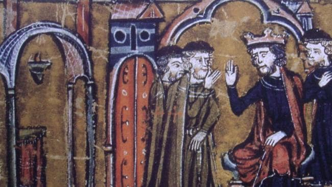 The Knights Templar (the blokes in brown chatting with King Baldwin of Jerusalem) became extremely rich and powerful until they ran out of luck and were slaughtered.