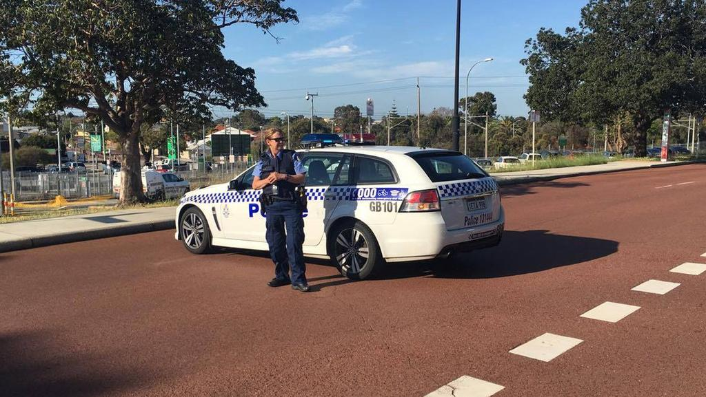 "A woman went to Bayswater police station with an upper body wound, claiming she'd been hit by a ""possible projectile"" while driving. Picture: Nine News Perth/Twitter"