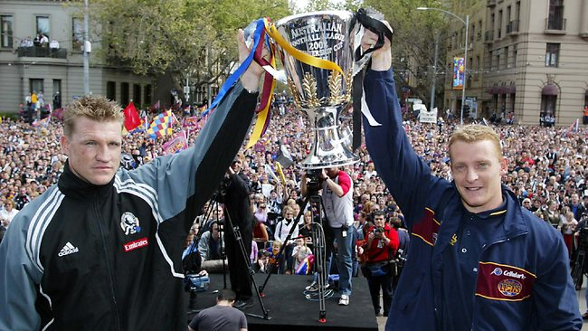 27/09/2002: Nathan Buckley and Michael Voss. Grand Final parade. Digital IMAGE. Picture: Michael Dodge