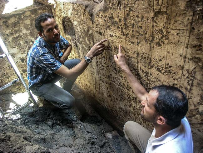 Identification ... Archaeologists point to a cartouche, or royal mark, declaring the chapel as belonging to Mentuhotep II. Picture: Luxor Times.