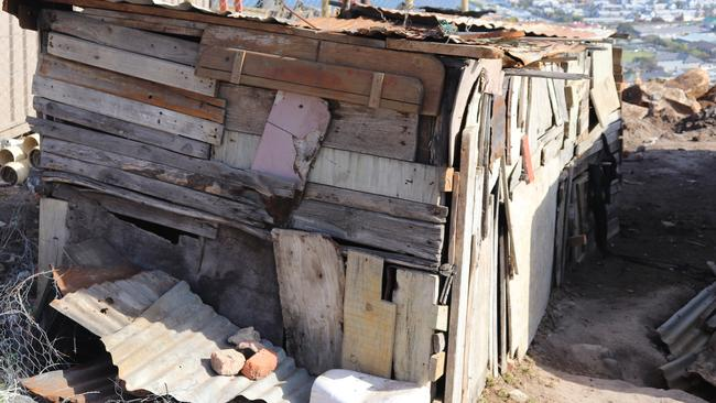 A shanty house in South Africa's Knysna township.