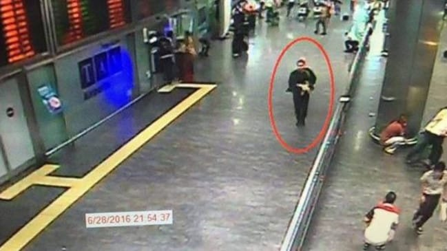 One of the bombers is identified on CCTV at Ataturk Airport in Istanbul, Turkey.