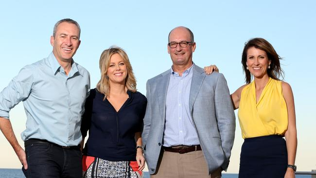 The team from Channel 7's Sunrise Mark Berett, Samantha Armytage, David Koch, and Natalie Barr at Broadbeach.