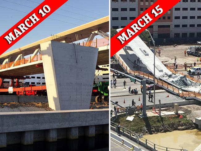 Before and after the Miami bridge collapse. Picture: The Miami Herald via AP