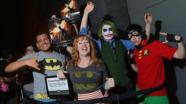 "A view of fans waiting outside for ""The Dark Knight Rises"" Midnight Premiere in New York City. Fans may no longer be allowed to wear costumes to movie screenings. Picture: Mike Coppola / Getty"