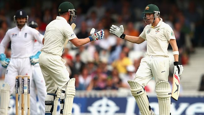 Steve Smith celebrates after reaches 100 for the first time in his Test career.