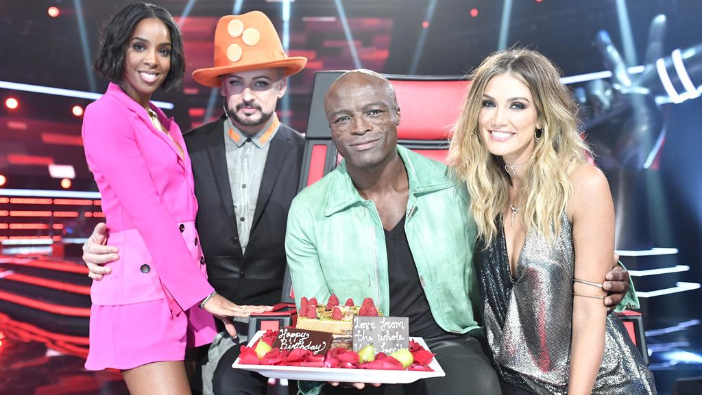 The Voice coaches Kelly Rowland, Boy George, Seal and Delta Goodrem. Picture: Supplied/Channel 9