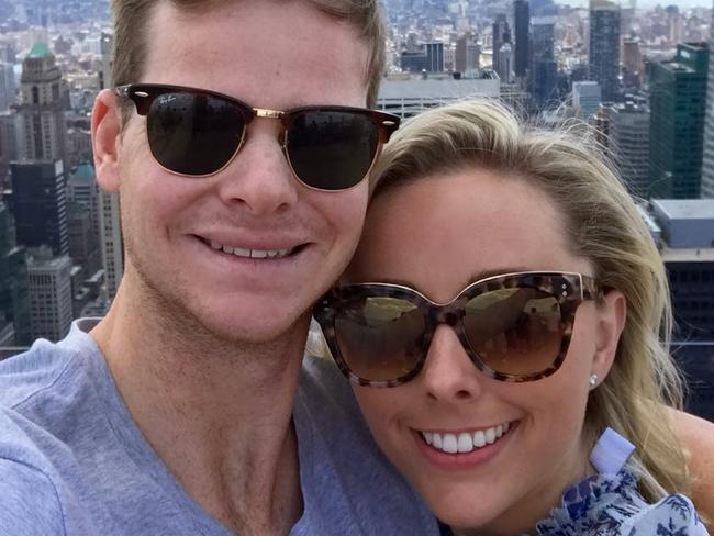 Australian cricketer Steve Smith engagement to Dani Willis in New york City. Picture: Instagram