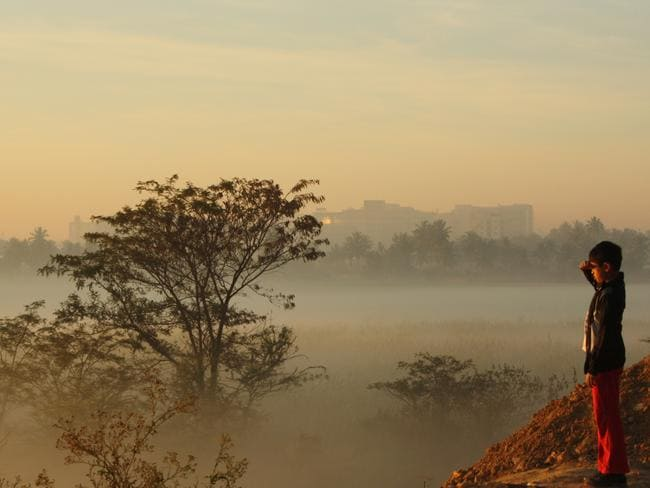 The lake is often hazy, even when it's not on fire. Picture: Anoop Kumar