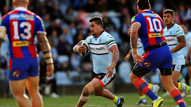 Andrew Fifita runs the ball in his comeback match. Pic Brett Costello
