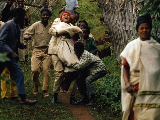 Dorze bachelors stage a kidnapping and carry off a reluctant bride in Ethiopia. Picture: James A. Sugar/National Geographic/Getty Images