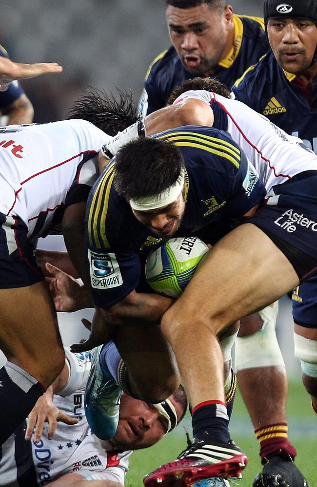 Highlanders flanker Shane Christie charges up the middle against the Rebels at Forsyth Barr Stadium.
