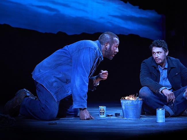 "Steinbeck classic ... James Franco and Chris O'Dowd in a scene from ""Of Mice and Men,"" in New York. Picture: AP"