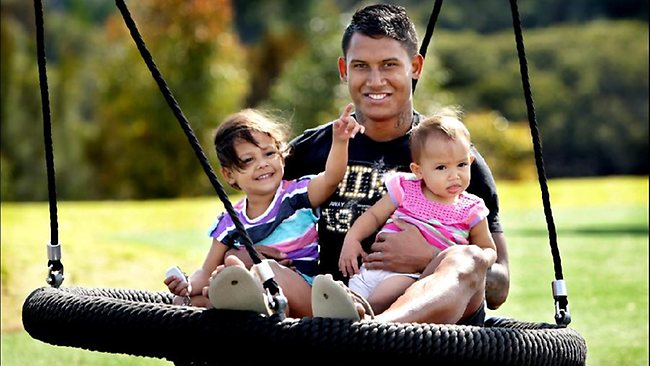 Canterbury Bankstown star fullback Ben Barba spends some quality time on a swing with his daughters Bodhi ( 3 years ) and Bronte (17 mths). Picture: Gregg Porteous