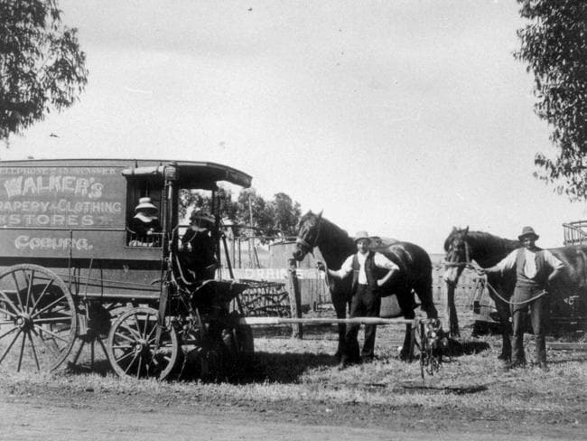 Walkers of Coburg, clothing and drapery store staff on the road. Picture: Herald Sun Image Library