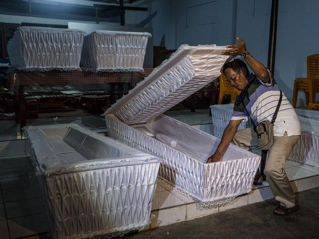 Matter of days ... coffins are prepared at a church in Cilacap, Central Java, ahead of executions to take place on Nusukamban Island. Picture: Ulet Ifansasti/Getty Images