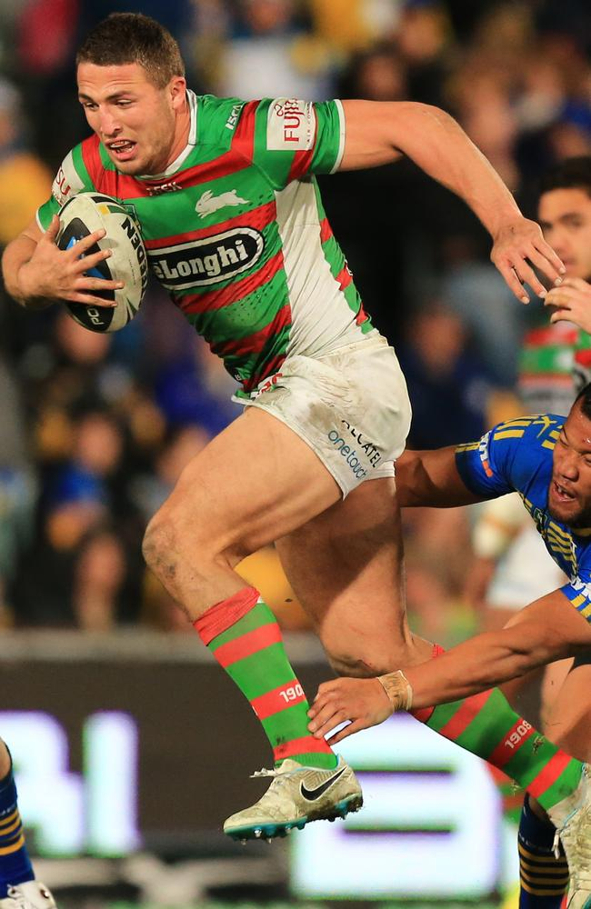 Sam Burgess was outstanding in every department against the Eels. Pic: Mark Evans