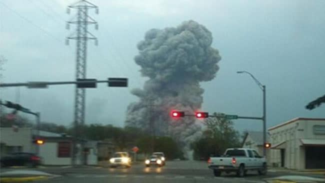 A plume from the blast at Waco, Texas, believed to be from a fertilizer plant. Picture: Twitter
