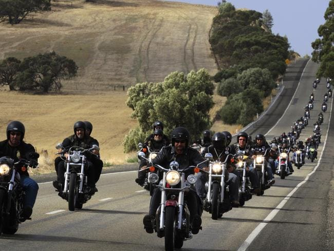 Gypsy Jokers and others run through the Barossa Valley north of Adelaide. Picture: Rob Hutchison.