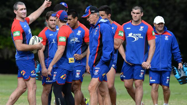 Tough times ... Newcastle Knight's coach Wayne Bennett at training. .