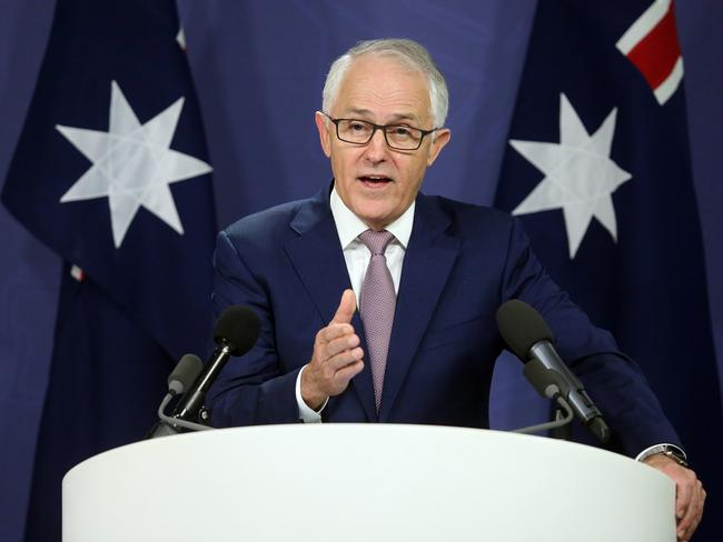 Prime Minister Malcolm Turnbull announces a record increase in job numbers throughout November. Picture: James Croucher