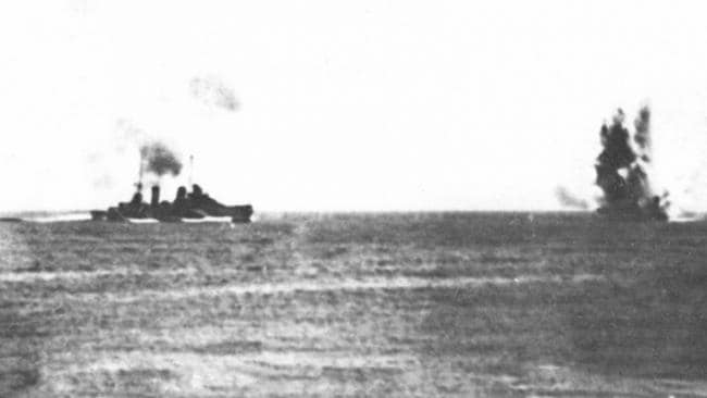 HMAS Hobart under Japanese air attack during the Battle of the Coral Sea. Picture: Royal Australian Navy