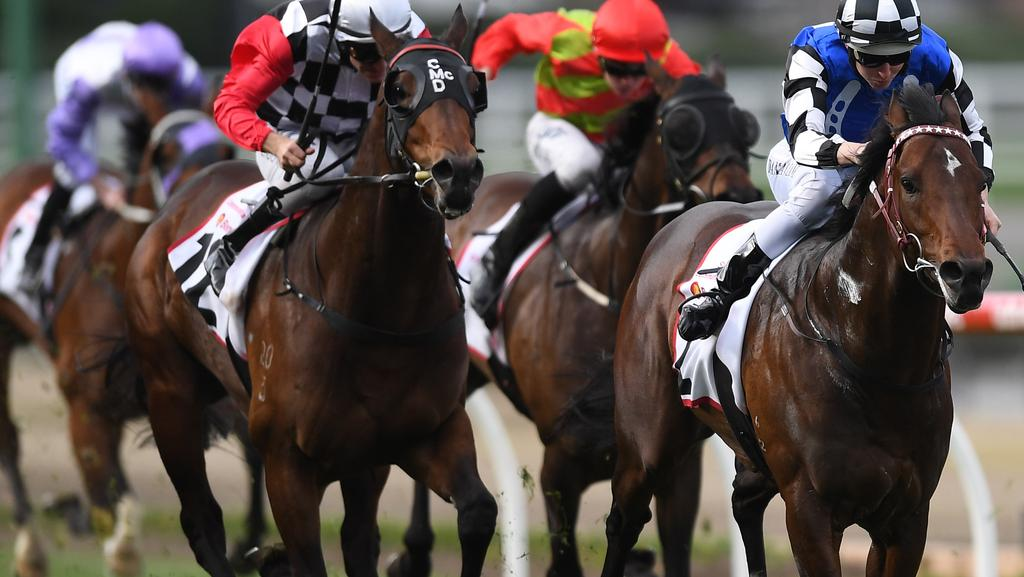 Damian Lane rides the Darren Weir trained Brave Smash (right) to victory in the Strathmore Community Bendigo Bank Stakes on Cox Plate Qualifier Day at Moonee Valley racecourse in Melbourne, Saturday, September 9, 2017. (AAP Image/Julian Smith) NO ARCHIVING, EDITORIAL USE ONLY