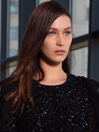 New nose ... Bella Hadid in supermodel mode at New York fashion week. Picture: Getty Images