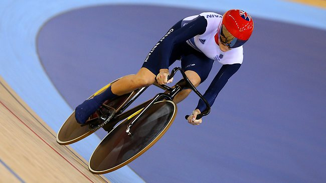 Victoria Pendleton competes during the women's sprint track cycling qualifying before learning she and her teammate had been disqualified because an incorrect changeover.