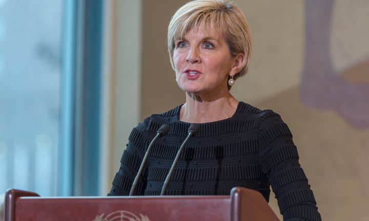 Australian Minister for Foreign Affairs Julie Bishop is seen at offering remarks following the signing of a maritime borders treaty between Australia and Timor-Leste at UN Headquarters in New York, NY, USA on March 6, 2018. 06 Mar 2018 Pictured: Australian Minister for Foreign Affairs Julie Bishop is seen at offering remarks following the signing of a maritime borders treaty between Australia and Timor-Leste at UN Headquarters in New York, NY, USA on March 6, 2018. (Photo by Albin Lohr-Jones/Sipa USA). Photo credit: Albin Lohr-Jones/Sipa USA / MEGA TheMegaAgency.com +1 888 505 6342