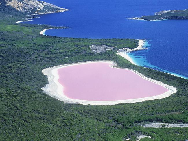 Lake Hillier really stands out. Getty Images