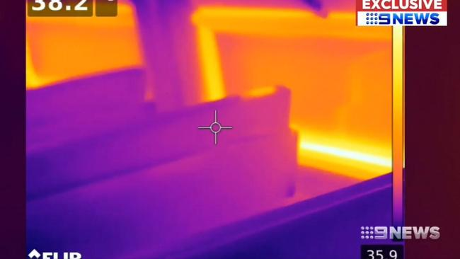 Thermal images show how hot some Sydney Trains are becoming. Picture: Channel Nine