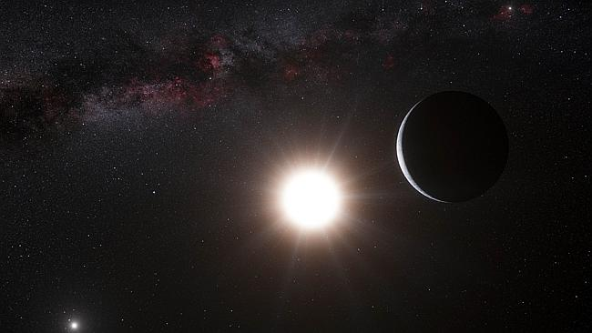 An artist impression of a planet orbiting the star Alpha Centauri B, a member of the triple star system that is the closest to Earth. Alpha Centauri B is the most brilliant object in the sky and the other dazzling object is Alpha Centauri A. Picture: AFP / ESO